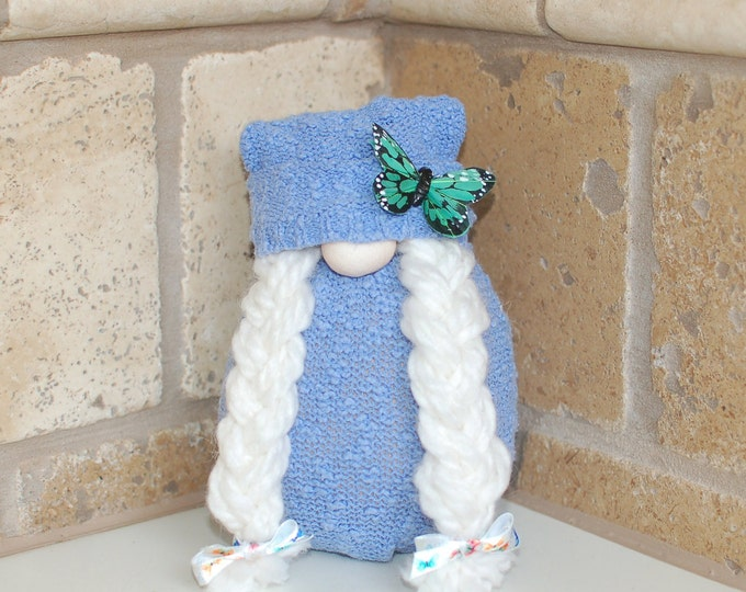 Blue Spring Butterfly Gnome - Sunny