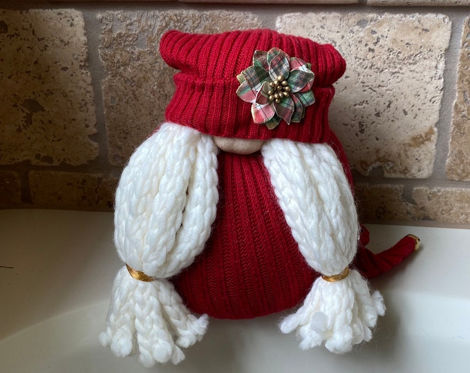 Stella the Plaid Flower Holiday Gnome