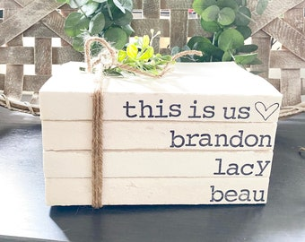 This Is Us Book Stack, Personalized Hand Stamped Book Stack, Rustic Decor, Custom Stamped Books, Farmhouse Decor, Home Decor, Wedding Gift