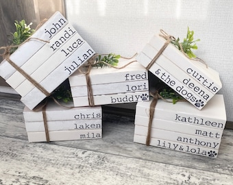 Personalized Hand Stamped Book Stack, Rustic Book Stack, Custom Stamped Books, Farmhouse Decor, Custom Book Stack, Wedding Gift, Home Decor