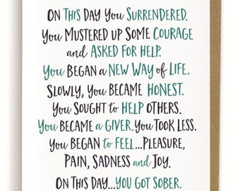 On This Day You Got Sober Card, Sobriety Card, Sober Birthday, Sober, Sobriety Gift for Men, Sobriety Gift for Women, Sober Card, Recovery