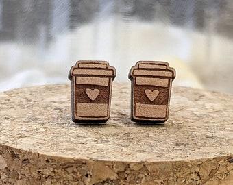 Cedar Wood Stud Earrings, Coffee, Espresso, Caffeine Lovers!