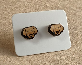 Labrador Retriever Earrings, Maple Wood Stud Earrings, Puppy Pet Jewelry with Stainless Steel studs