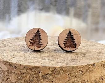 Outdoor Cedar Wood Stud Earrings, Pine Tree Var.01