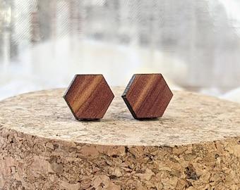 Hexagon Cedar Wood Earrings with Stainless Steel Studs