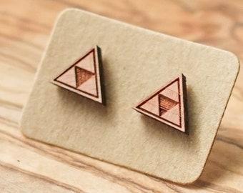 Triforce Cedar Wood Stud Earrings, Zelda