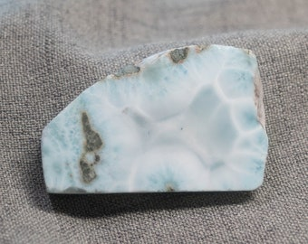 Beautiful Rare Larimar Slab, Precious Pectolite Stone for Polishing, Cabbing, Jewelry Making and Collecting, Rich Ocean Patterns - 111