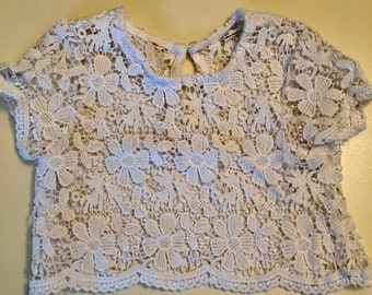 Mayoral Girl White lace top Size 4