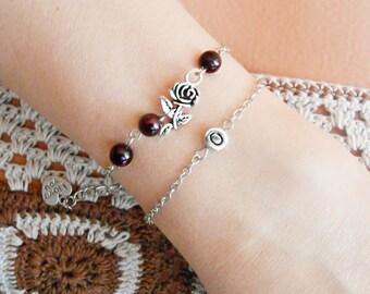 Garnet bracelet +initial bracelet rose bracelet Best gift for Her two bracelets Thin chain bracelets with garnet and letter