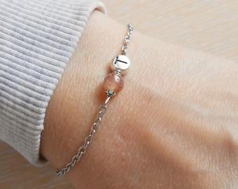 Strawberry quartz bracelet Simple bracelet Initial name bracelet Best gifts bracelets Thin chain bracelet