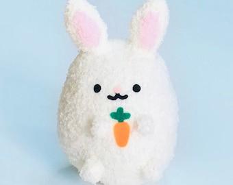 Adopt A Plush - Cute Handmade Bunny - Soft Stuffed Rabbit Holding Carrot