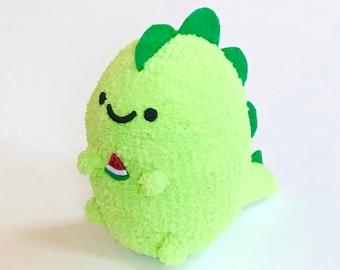 Adopt A Plushie - Cute Plush Handmade Dinosaur - Soft Dinosaur Toy Holding Watermelon