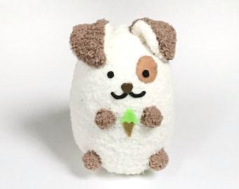 Adopt A Pet - Soft Plush Puppy Dog - Cute Stuffed Dog Holding Ice Cream Cone
