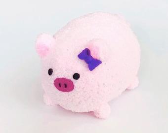 Plush Adoption - Soft Plush Handmade Pig - Stuffed Farm Animal - Cute Plush Pig with Bow