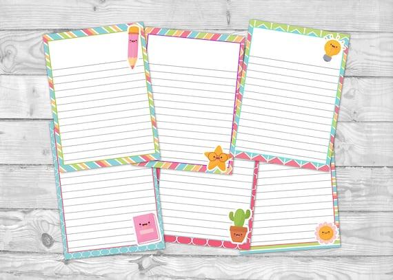 Printable Note Paper  Kawaii Stationary  Cute Writing Paper