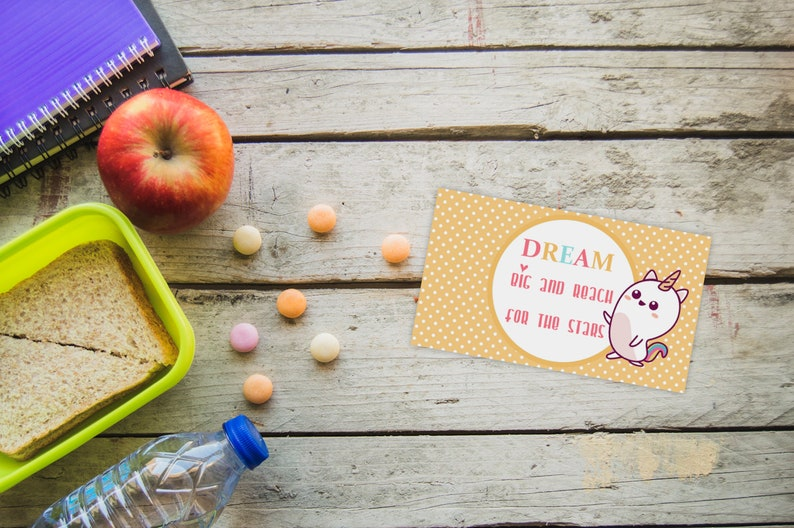 Inspirational Lunch box cards Kids lunchbox card notes Printable Caticorn lunch box notes