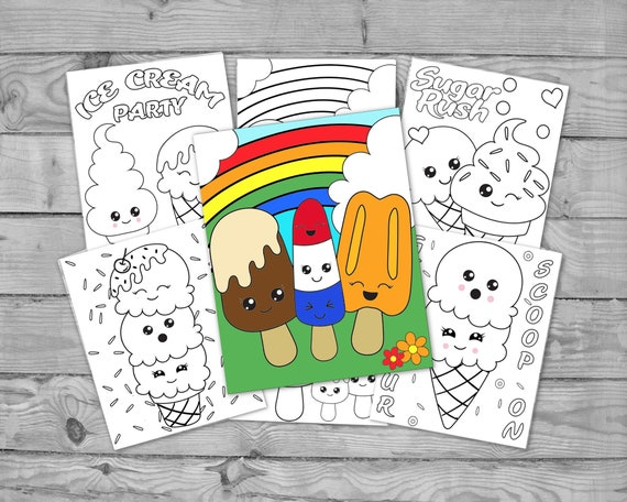 Printable Kawaii Ice Cream Coloring Pages for Kids Ice Cream