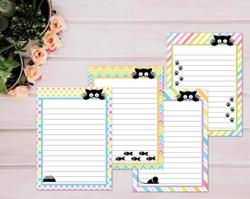 Printable Note Pages Cat Note Paper Decorative Writing Etsy
