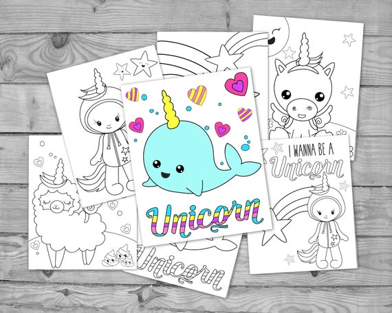 Printable Kawaii Unicorn Coloring Pages For Kids Unicorn Etsy