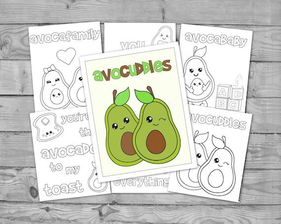 Printable Kawaii Coloring for Kids Avocado Activity Coloring