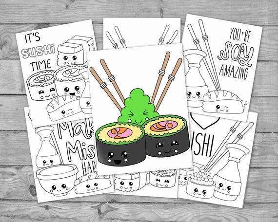 Printable Kawaii Coloring for Kids Kawaii Sushi Activity