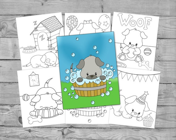 Printable Coloring For Kids Dog Activity Coloring Pages Kids Etsy