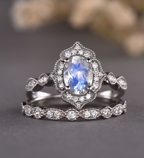 vintage moonstone engagement ring
