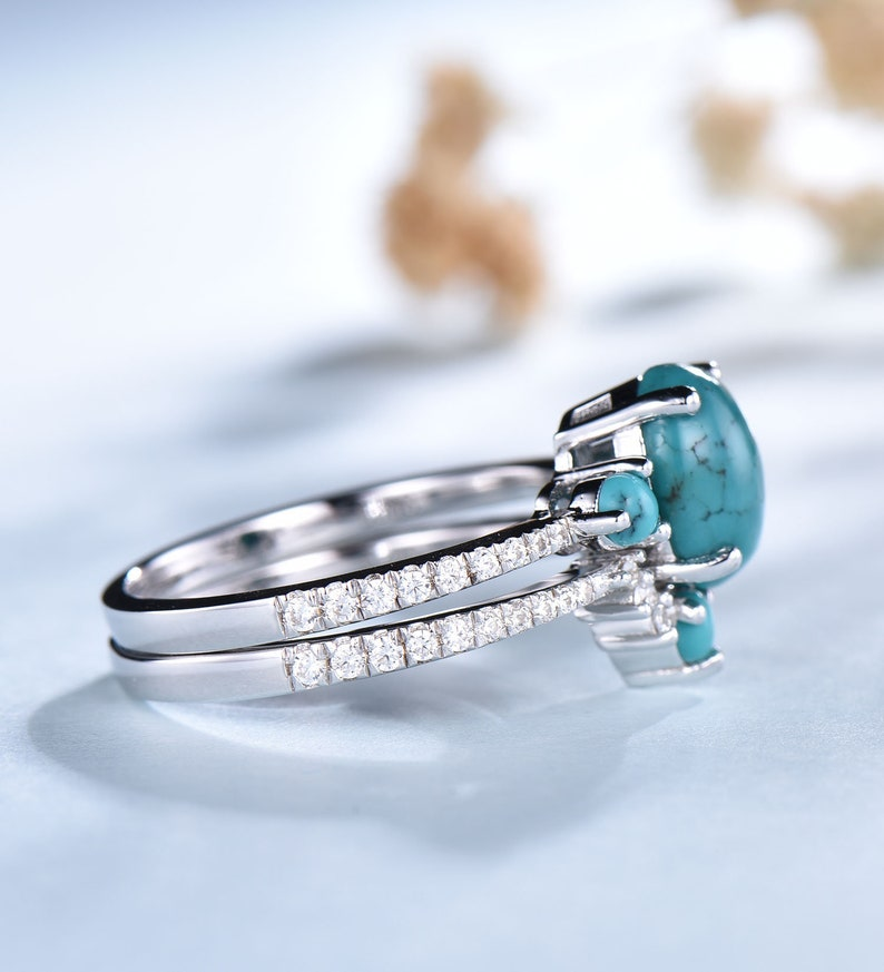 Turquoise Wedding Ring Set Oval Turquoise Ring 925 Sterling Silver Rings December Birthstone Ring Turquoise Gold Ring Bridal Set