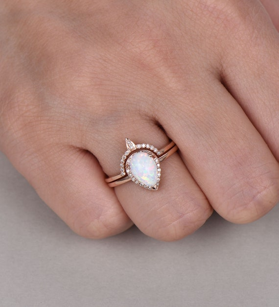 Opal Rings For Womenvintage Opal Wedding Setwhite Fire Etsy