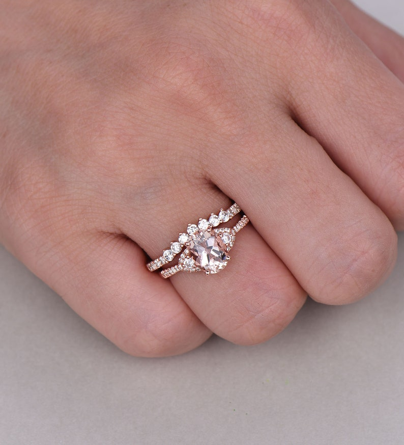 CZ Diamond Wedding Band Rose Gold Morganite Ring 14K Solid Gold Ring Gifts for Her Bridal Ring Set Birthstone Jewelry Stacking Ring