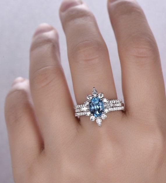 Blue Topaz Ring December Birthstone Blue Topaz Wedding Ring Etsy