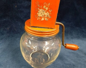 1950s Gadget Grinder with Wooden Knob Handle Red Tin Top Hazel Atlas Glass Nut Chopper # 5935 Vintage Orange