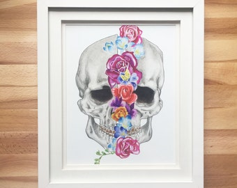 New Beginnings floral skull original art print