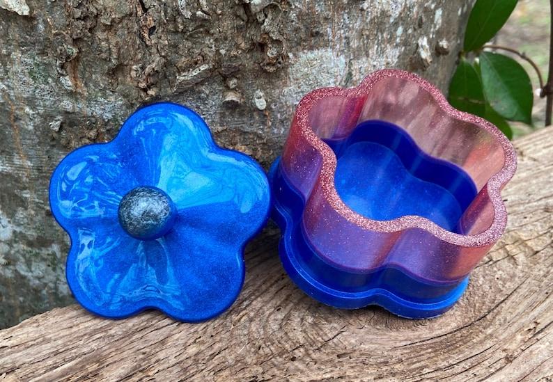 Handmade Art Trinket Jewelry Box Blue and Pink