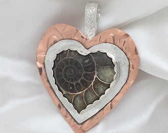 Ammonite Heart in Silver and Copper Pendant