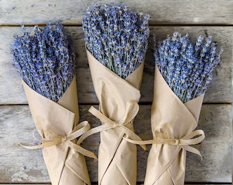 Lavender Bunch - Dried Lavender Bundle - over 250 Stems, 2020 certified organic, dried lavender for bouquets,