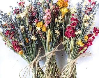 Lavender Dried Bridal bouquet / Dry Flower Wedding, Rustic Boho Brides, Bridesmaid bouquet, Wildflowers Dried bouquet