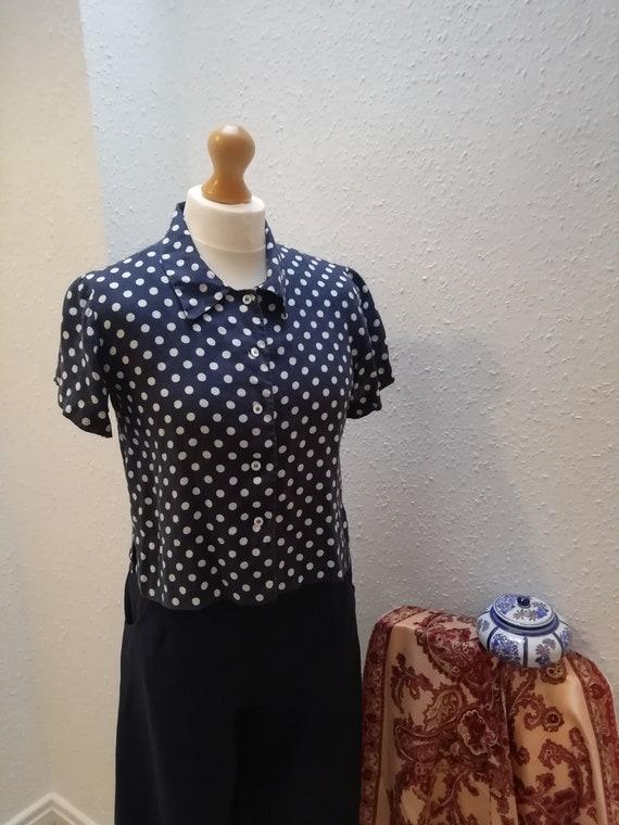 1940s esk Blue Cropped Polka Dot Blouse