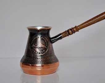 Handmade Armenian Coffee Pot Copper jazzve with wooden handle