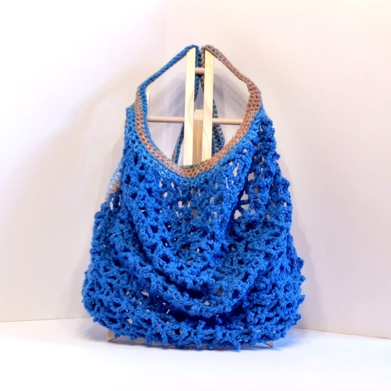 mandala inspired french wide opening crocheted yarn eco-friendly washable grocery shoulder tote stylish airplane carryon Farmers market bag