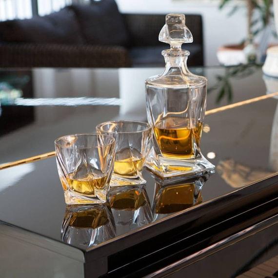 Quadro Whiskey Crystal Set decanter 6 glasses Whisky