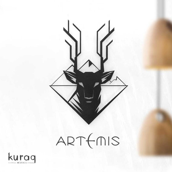 Deer Metal Poster Artemis Modern Wall Art 2d Metal Sculpture