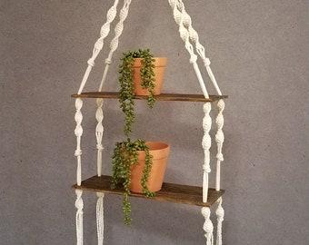 Macrame Wood Shelf, Custom Made Macrame Double Wood Shelf, Boho Home, Boho Decor, Macrame Shelf, Double Macrame Shelf, Hanging Plant Shelf