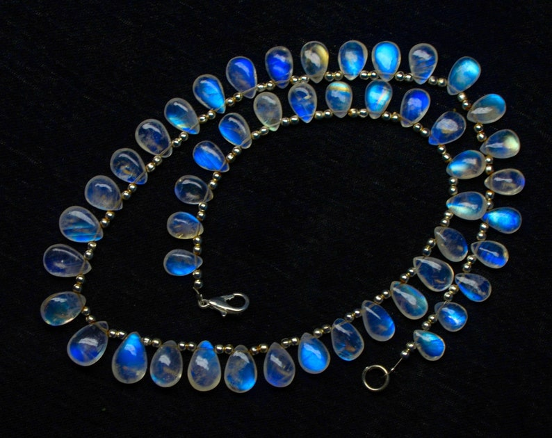 RAINBOW MOONSTONE NECKLACE  smooth plain rainbow moonstone pear shape pieces necklace  full of blue fire and transparancy