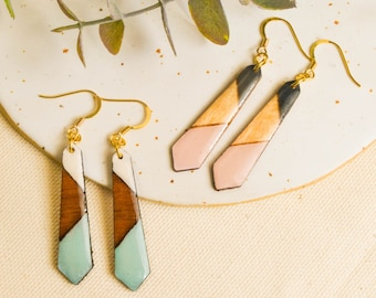 Sustainable christmas gifts, drop wood earring, wood jewelry her, women gift ideas