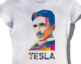8c7788a315b5 FREE Shipping, Nikola Tesla T-shirt Women's, Tesla Gift, Stylish Fashion Tee  for Woman, Tesla Shirt, Woman in Sience Shirt, Science T-shirt