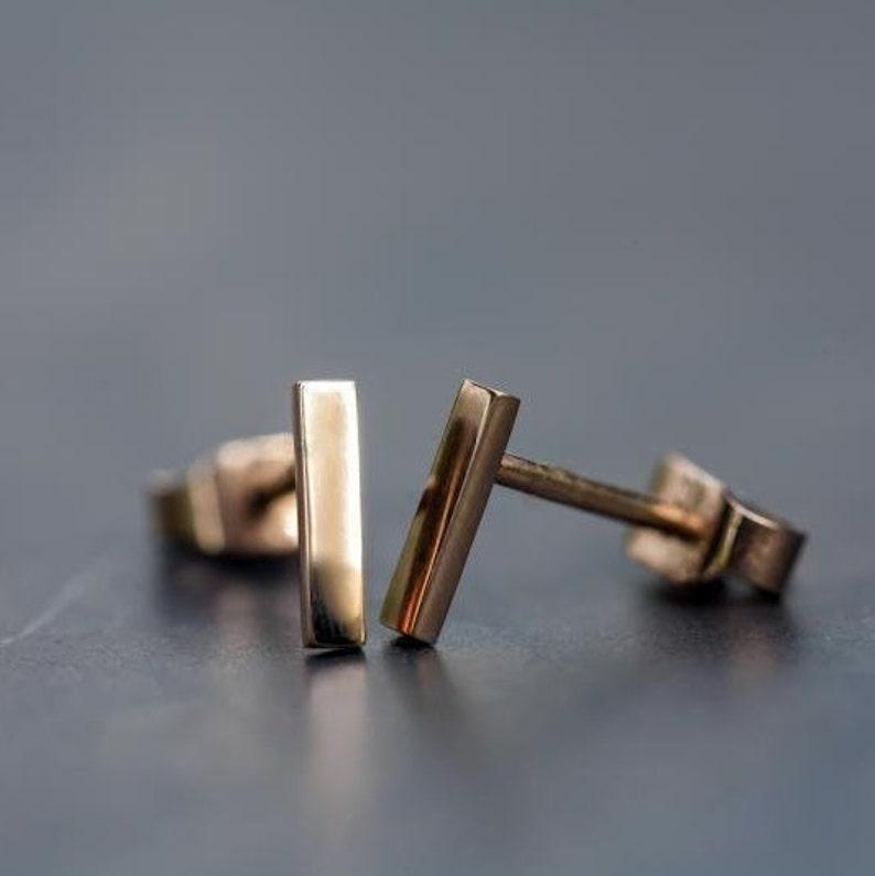Solid Gold Bar Earrings 14k Gold Stud earrings
