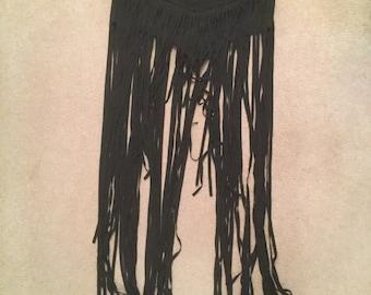 Black Fringe Rave Skirt