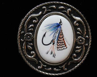 Belt Buckle Fly Fishing  Porcelain and Mental