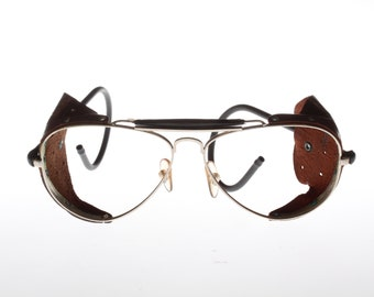 Cebè aviator leather sideshield vintage eyeglasses